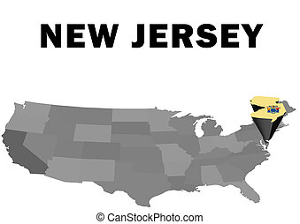 New Jersey - Outline map of the United States with the state...