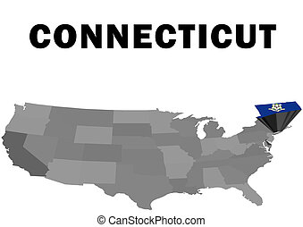 Connecticut - Outline map of the United States with the...