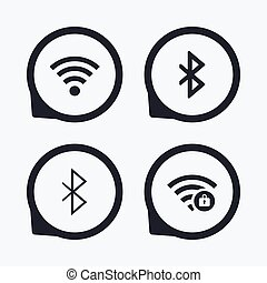 Wifi and Bluetooth icon. Wireless mobile network - Wifi and...