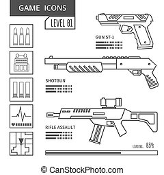 Game icons weapon - Weapon line icons in the genre of...