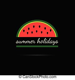 watermelon with summer holiday illustration
