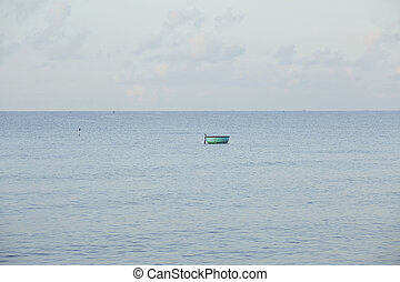 one lonely fisherman boat in sea asian vietnamese style, mui...