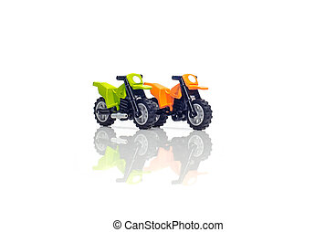 motorcycle a toy on a white background