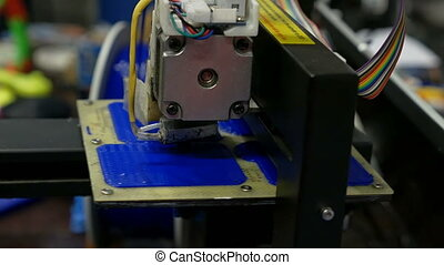 Three dimensional plastic 3d printer in laboratory -...