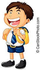 Happy boy in school uniform illustration