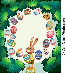 Border design with bunny and easter eggs
