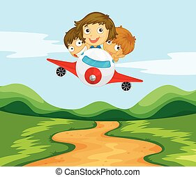 Three kids flying the plane over the hills