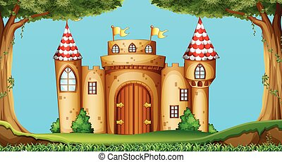 Castle towers in the field illustration