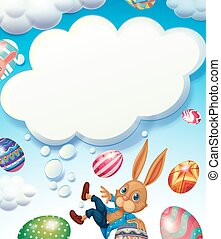 Happy Easter theme with bunny in the sky