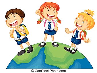 Three kids in school uniform standing on earth illustration