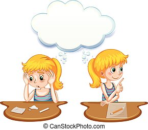 Girl having positive and negative thoughts