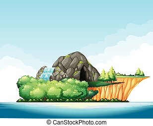 Nature scene with cave and waterfall on the island