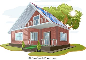 Solar energy. Caring about environment. House with solar...