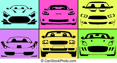 Supercars - Outline drawings of various supercars against a...
