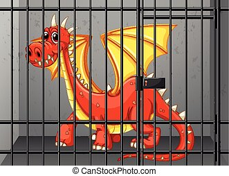 Red dragon in the cage illustration