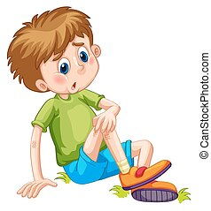 Boy having bruises on his leg illustration