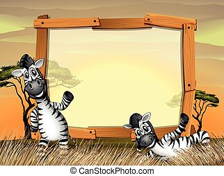 Border design with two zebras in the field illustration