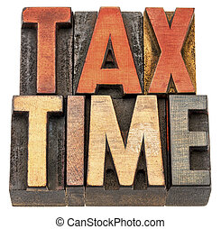 tax time banner in wood type