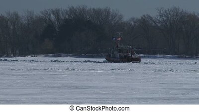Fire rescue boat navigating on lake - Fire rescue boat...