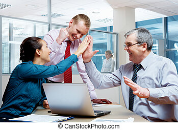 Corporate victory - Image of joyful businesspeople...