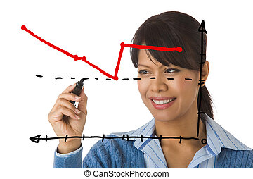 Presentation - Image of businesswoman showing sales on a...