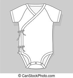baby bodysuit crossover raglan flat sketch template isolated...