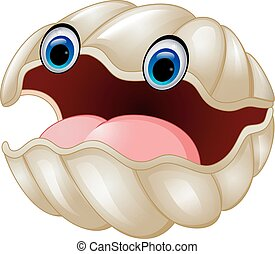 Cartoon oyster - vector illustration of Cartoon oyster