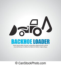 backhoe loaders, vector symbol