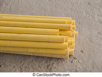 PVC pipes for electric conduit - yellow PVC pipes for...