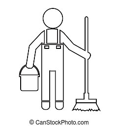 Cleaner Man and Cleaning Tool Equipment Illustration design