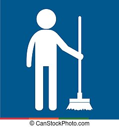 Cleaner Man and Cleaning Tool Equipment people icon Illustration design