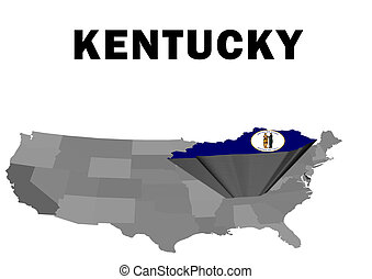 Kentucky - Outline map of the United States with the state...
