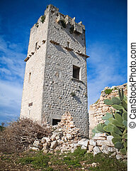 Ancient abandoned Tower Giovinazzo Apulia