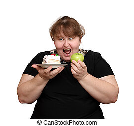 dieting overweight woman choice isolated on white