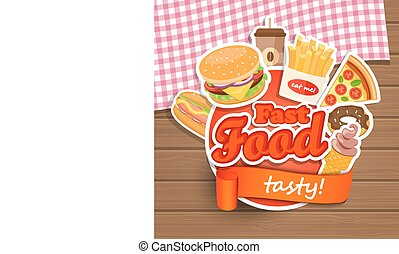 Fast food design template - Fast food elements,...