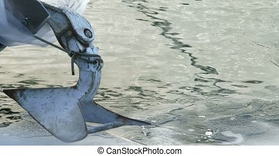 Anchor on boat docked in Toronto - Anchor on boat docked on...