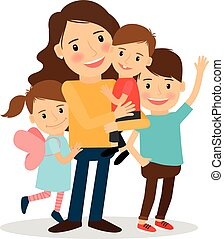 Mother with kids. Happy family together. Parenting and child...