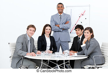 Self-assured man doing a presentation in a company
