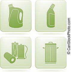 Olivine Square 2D Icons Set: Cleaning - Cleaning theme icons...