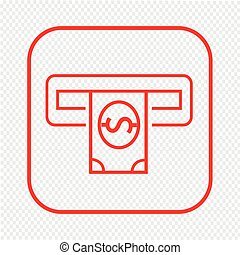 Thin Line Atm Icon Illustration design