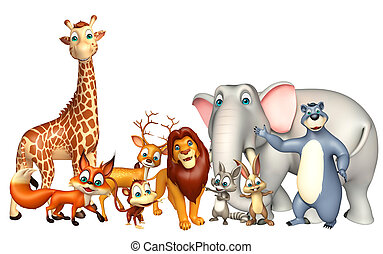 wild animal collection - 3d rendered illustration of wild...