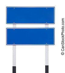 two blue empty traffic sign isolated on white background