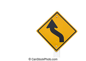 Curved Road Traffic Sign isolated on white background