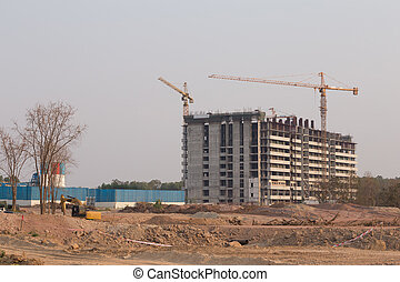 Building construction site with Crane - Building...