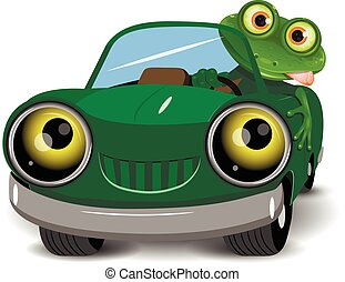 Frog in the car - Illustration of a green frog in the car