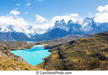 torres del paine - beautiful view from mirador condor at...