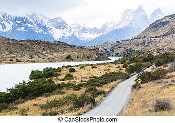 torres del paine - beautiful view at lake pehoe and cuernos...