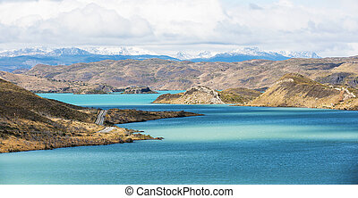 torres del paine - beautiful view at lake pehoe and...
