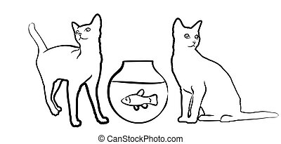 Sketch of cats with aquarium.