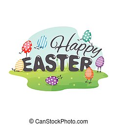 Happy Easter greeting card with funny eggs